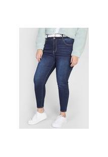 Calça Jeans Forever 21 Plus Skinny Estonada Azul