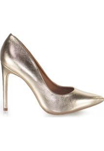 Scarpin Feminino Couro Bico Fino Metalizado Salto Alto - Feminino-Dourado
