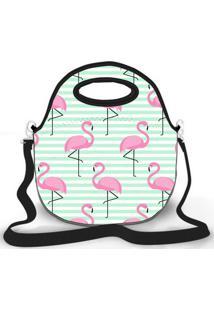 Bolsa Térmica Shop House Flamingos Rose Verde