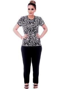 Pijama Feminino Blusa Animal Print De Zebra Viés Calça Comprida - Feminino