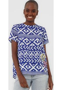 Blusa Desigual Agape Azul - Azul - Feminino - Poliã©Ster - Dafiti