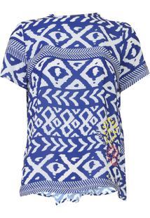 Blusa Desigual Ágape Off-White/Azul