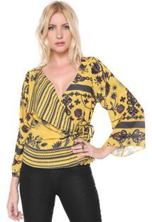 Blusa Lança Perfume Transpassada Amarela