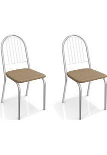 Conjunto Com 2 Cadeiras De Cozinha Noruega Cromado E Capuccino