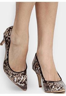 Scarpin Shoestock Snake - Feminino-Marrom