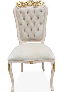 Cadeira Luís Xv Capitonê Entalhada Madeira Maciça Design Clássico