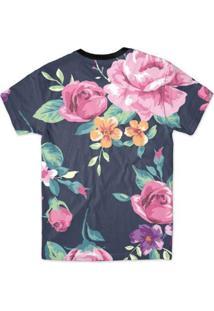 Camiseta Bsc Floral Azul Full Print Masculina - Masculino-Preto