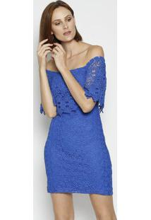 Vestido Ciganinha Em Renda - Azul - Moisellemoisele