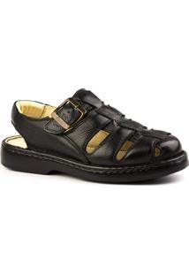 Sandália Masculina 308 Em Couro Floater Doctor Shoes - Masculino-Preto