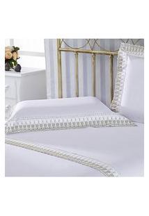 Jogo De Lençol Casal Luxury 233 Fios 4 Peças Branco Plumasul