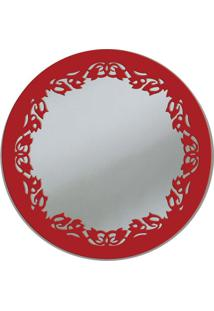 Espelho De Parede 13273I Vermelho 70X70 Art Shop
