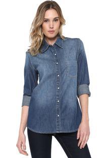 Camisa Jeans Zoomp Reta Mirela Azul
