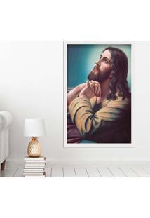 Quadro Love Decor Com Moldura Sagrado Jesus Branco Grande