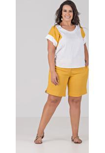 Conjunto De Blusa E Bermuda Em Tecido De Viscolycra Com Elastano - Plus Size Amarelo, Talento
