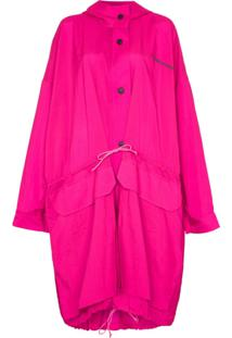 House Of Holland Casaco Impermeável Oversized Com Capuz - Rosa