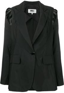 Mm6 Maison Margiela Blazer Com Recorte - Preto