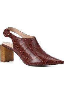 Ankle Boot Couro Shoestock Bico Fino Croco Fivela Salto Madeira - Feminino