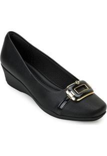 Sapato Anabela Piccadilly Pd20-144069 Feminino - Feminino-Preto