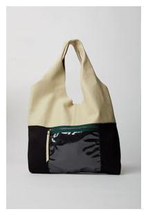 Bolsa Couro Plastic Preto/Marfim - U