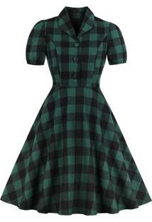 Vestido Midi Retrô Xadrez Verde