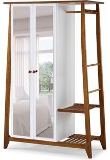Guarda-Roupa Solteiro Stoka Com Espelho 2 Pt Nogal E Branco
