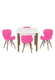 Conjunto Mesa De Jantar Luiza 80Cm Branca Com 4 Cadeiras Slim - Rosa