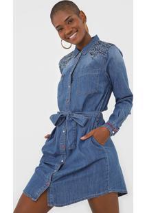 Vestido Chemise Jeans Desigual Curto Aplicações Azul
