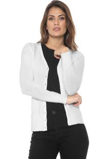 Cardigan Polo Wear Tricot Básico Off-White