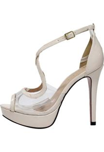 Sandália Week Shoes Meia Pata Transparente Nude