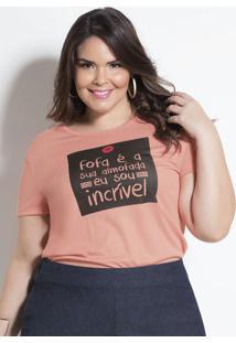 T-Shirt Salmão Com Estampa Plus Size Marguerite