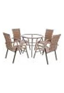Conjunto 4 Cadeiras E Mesa Alta Sem Tampo Bela, Jardim, Fibra Sintetica Capuccino