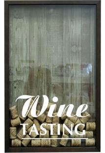 Quadro Porta Rolhas De Vinho Wine Tasting 17X27 Cm Betume