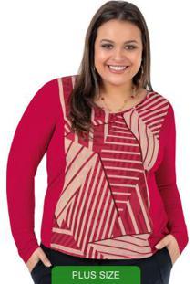 Blusa Manga Longa Com Estampa Vermelho