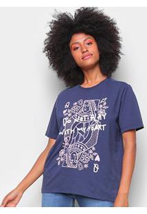 Camiseta T-Shirt Cantão Classic Heart Feminina - Feminino-Azul Escuro