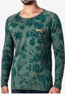 Camiseta Manga Longa Verde 101498