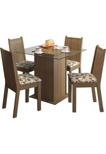 Sala De Jantar Madesa Base De Madeira Com Tampo De Vidro E 4 Cadeiras Lucy - Rústico E Bege-Marrom