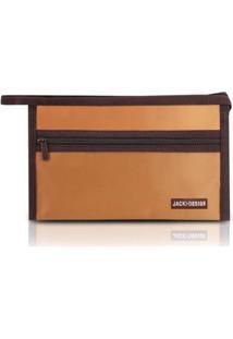 Necessaire Envelope Jacki Design Em Tecido Grande - Unissex-Marrom+Amarelo