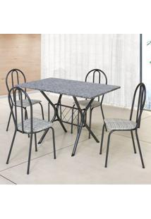 Conjunto De Mesa Com 4 Cadeiras Bruna Craqueado Preto E Estampa Rattan