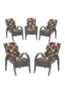 Cadeiras 5Un P/ Jardim Lazer Edicula Varanda Descanso Fibra E Tramas Napoli Plus Tabaco A02