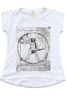 Camiseta Tshirt Rock Cool Tees Guitarra Da Vinci Feminina - Feminino-Branco