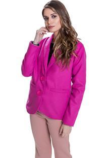 Casaco Jaqueta Lã Batida Carbella Curto Rosa Pink