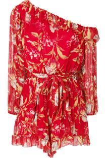 Zimmermann Asymmetric Ruffled Floral Playsuit - Vermelho