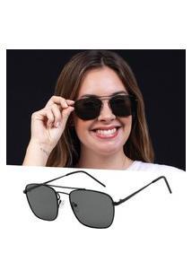 Óculos De Sol Preto Retro Leve Isabela Dias Feminino