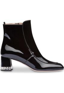 Miu Miu Crystal Trim Ankle Boots - Preto
