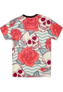 Camiseta Bsc Caveira Listras Full Print Masculina - Masculino-Preto