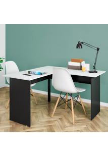 Mesa Para Escritório Retangular Em L Pé Painel 135Cm Gebb Work Preto/Cinza