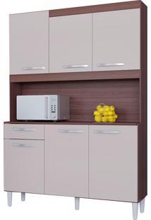 Cozinha Compacta 6 Portas Carine-Poquema - Capuccino / Off White