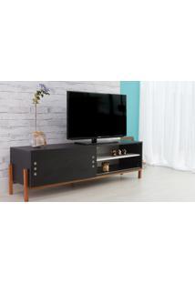 Rack Para Tv Preto Moderno Vintage Retrô Com Porta De Correr Preta Eric - 166X43,6X48,5 Cm
