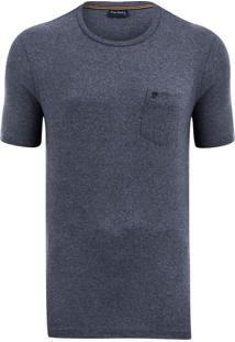 Camiseta Azul Marinho Mescla Com Bolso