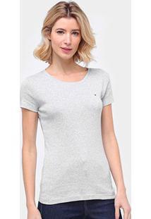 Camiseta Tommy Hilfiger New Fave Feminina - Feminino-Cinza Claro